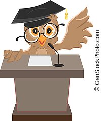 Owl speaker said on the podium. Illustration in vector...