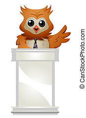 Owl Speaker - Owl speaking with Clipping Path