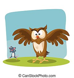owl spotted mouse vector illustration design