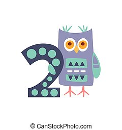 Owl Standing Next To Number Two Stylized Funky Animal