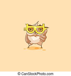 owl sticker emoticon with glasses crypto currency