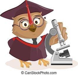 Owl teacher and microscope