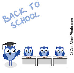 Owl teacher and pupils back to school