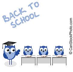Owl teacher and pupils