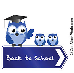 Owl teacher and pupils with back to school message on sign