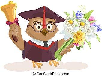 Owl teacher holding bouquet