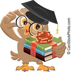 Owl teacher holding gift book