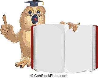 Owl teacher holding open book