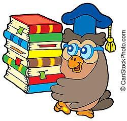 Owl teacher holding pile of books