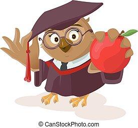 Owl teacher holding red apple