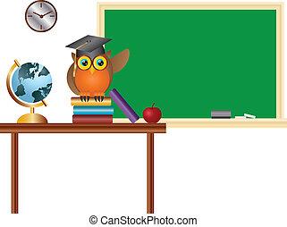Owl Teacher in Classroom with Chalkboard Illustration - Owl...