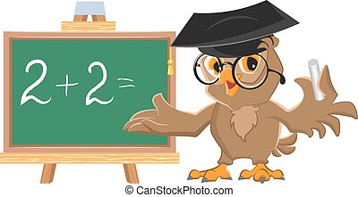 Owl teacher leads math lesson. Isolated illustration in...