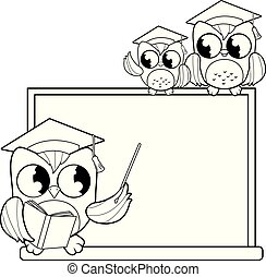 Owl teacher pointing at chalkboard and students at classroom. Black and white coloring book page
