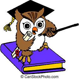 Owl teacher sitting on  book
