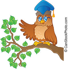 Owl teacher theme image 1 - vector illustration.