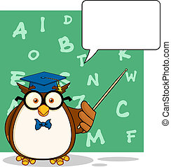 Owl Teacher With A Speech Bubble