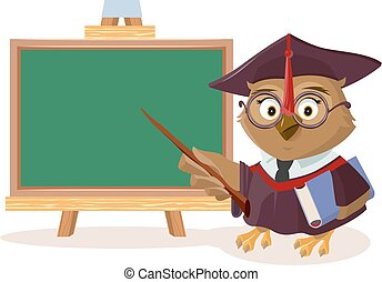 Owl teacher with book and pointer stands near blackboard....