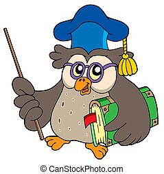 Owl teacher with book and pointer - isolated illustration.