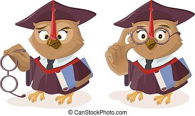 Owl teacher with book