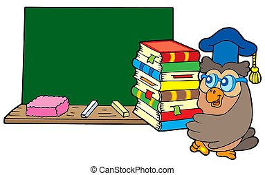 Owl teacher with books and blackboard