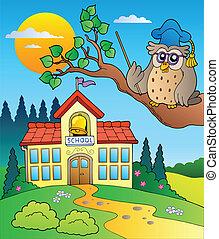 Owl teacher with school building