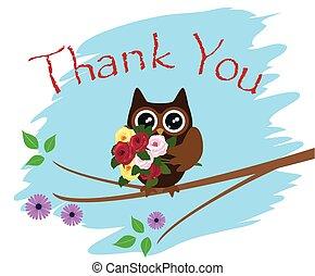owl thank you card - vector thank you card