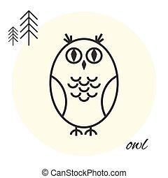 owl thin line icon