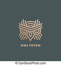 Owl Totem Abstract Vector Sign, Emblem or Logo Template. Golden Line Style Geometry Emblem.
