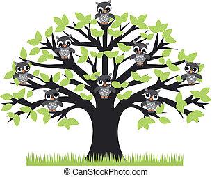 owl tree - a tree with cute owls