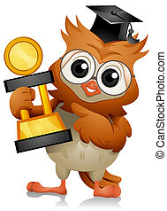 Owl Trophy - A Cute Owl Holding a Big Trophy
