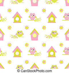 owl twig bird house seamless pattern  cartoon