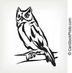 Owl vector black icon logo