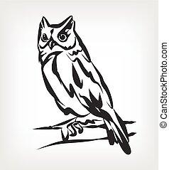 Owl vector black icon logo