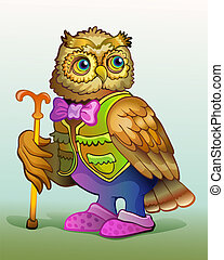 OWL - An old owl is in slippers. Vector illustration
