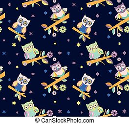 owl vector seamless pattern..