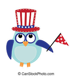 Owl wearing a patriotic uncle sams hat holding a flag,...