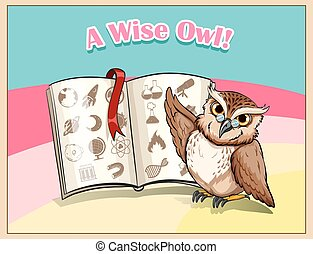 Owl wearing eyeglasses studying illustration