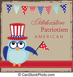 Owl wearing patriotic uncle sams hat holding a flag with...