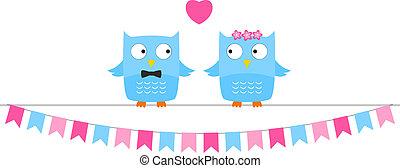 Owl wedding couple, bride and groom