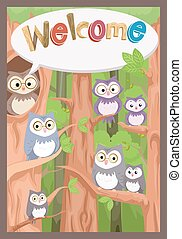Owl Welcome Bulletin - Illustration of a Bulletin Board...