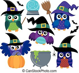 Owl witches theme set 1