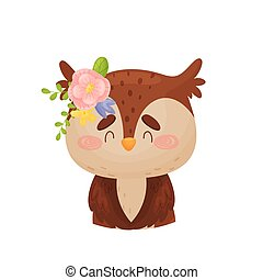 Owl with a flower on his head. Vector illustration on a white background.