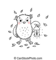 Owl with a lantern.
