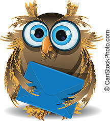 owl with a letter - illustration wise owl secretary with...