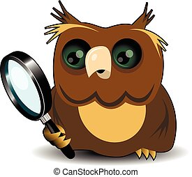 Owl with a magnifying glass
