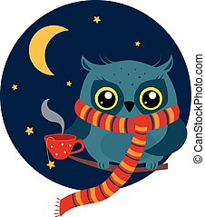 Owl with a Mug of Coffee on Branch. Vector Illustration - ...