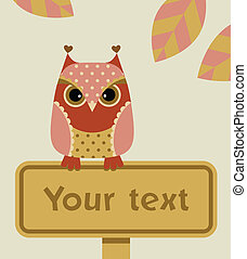 Owl with a sign