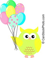 Owl with balloons, illustration, vector on white background.