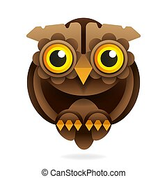 owl with big eyes vector illustration on white background