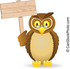Owl with blank signboard - Vector illustration of owl with...